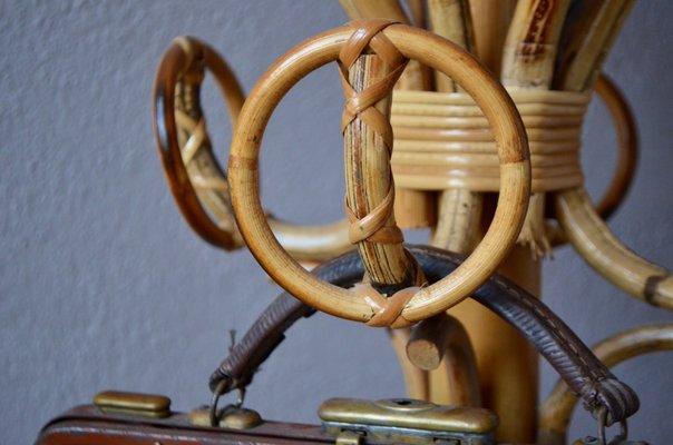 Vintage Bohemian Rattan & Bamboo Coat Rack