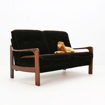 Brown Velvet And Teak Two Seater Sofa 1970s 2