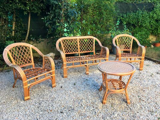Vintage Rattan Lounge Set For Sale At Pamono