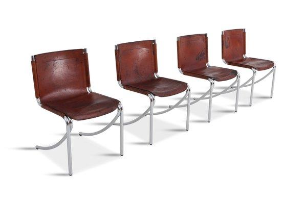 Sedie Metallo Pelle.Sedie Da Pranzo Jot Vintage In Pelle E Metallo Cromato Di Giotto Stoppino Per Acerbis Set Di 4