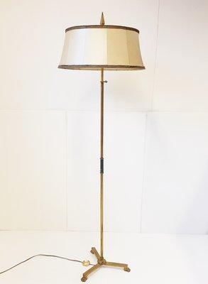 French Brass Lion Legged Floor Lamp 1950s