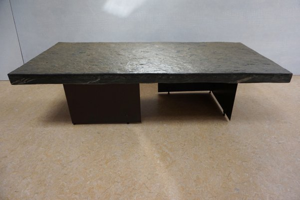 Mid century modern brutalist shale rock coffee table for sale at