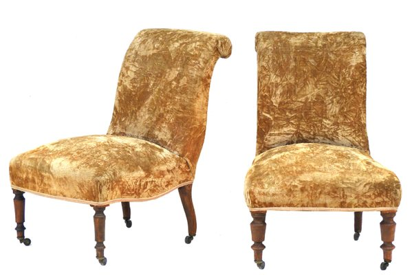 Antique French Slipper Chairs Set Of 2
