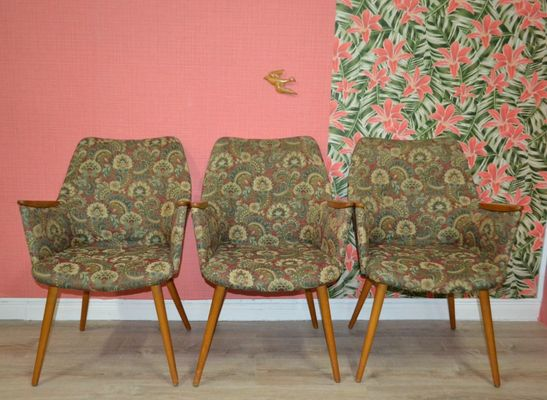 Exceptionnel Mid Century Patterned Cocktail Chairs, Set Of 3 1