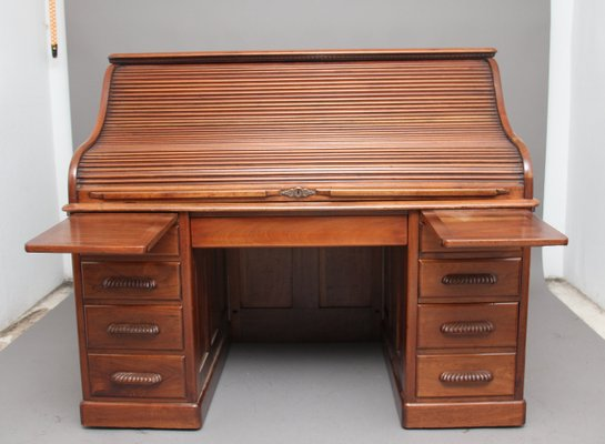 Antique Walnut Roll Top Desk 1910s 2