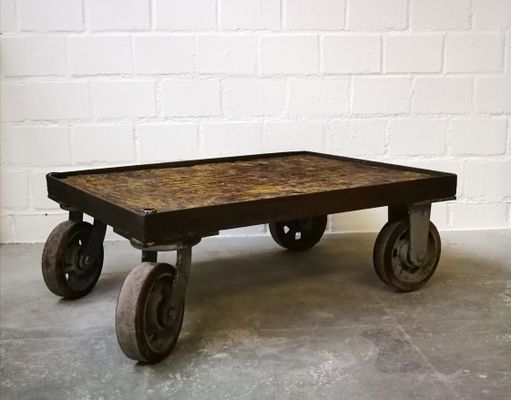 Belgian Coffee Table With Wheels 1960s