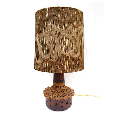 Beau Vintage Terracotta Table Lamp With Handmade Lampshade