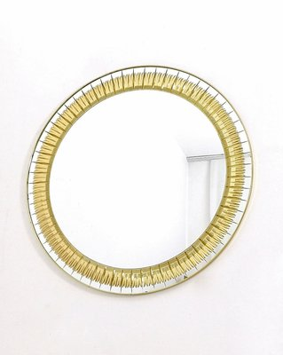 Large Round Wall Mirror With Gold Engraving From Cristal Art 1960s