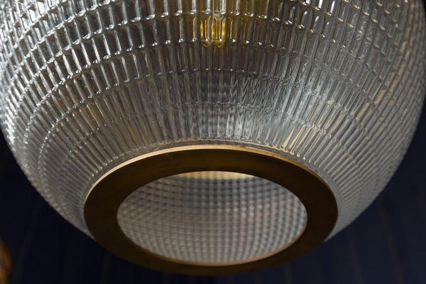 Parisian Modern Brass Holophane Pendant
