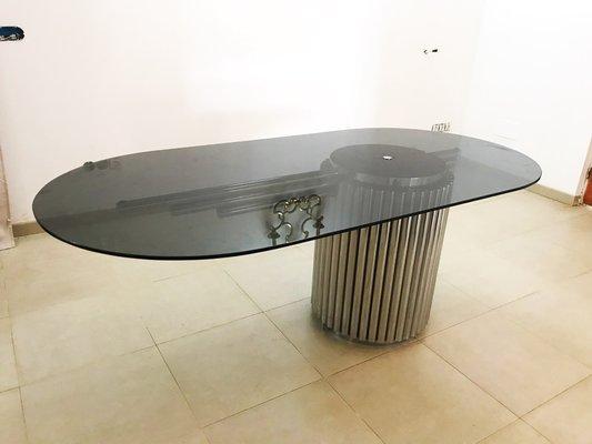 Tavolo Da Pranzo In Vetro : Tavolo da pranzo in vetro e metallo di gastone rinaldi anni 60 in