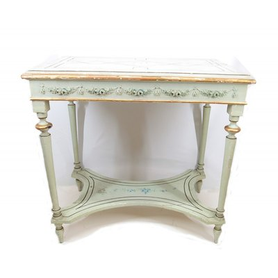 Antique Green Lacquered Console Table