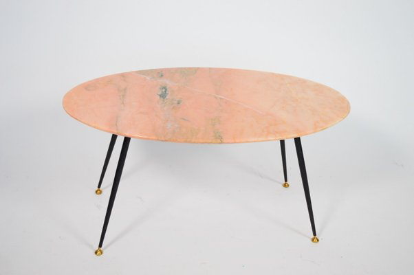 Mid Century Italian Coffee Table With Pink Marble 1950s 1