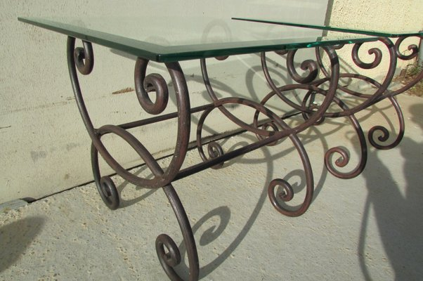 Coffee Tables In Wrought Iron Glass 1970s Set Of 2