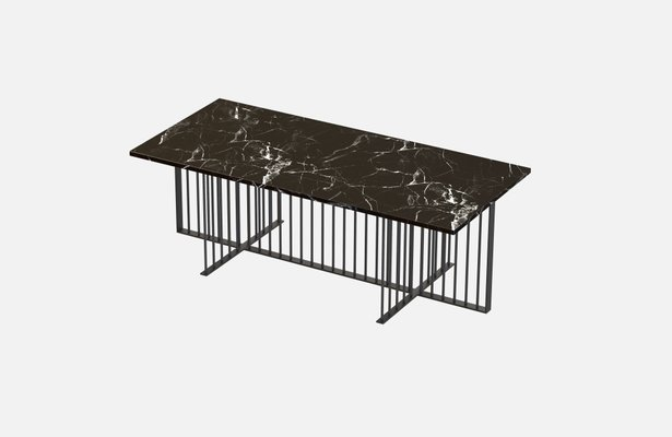 Schwarzer Meister Couchtisch Mit Schwarzer Tischplatte Aus Marmor