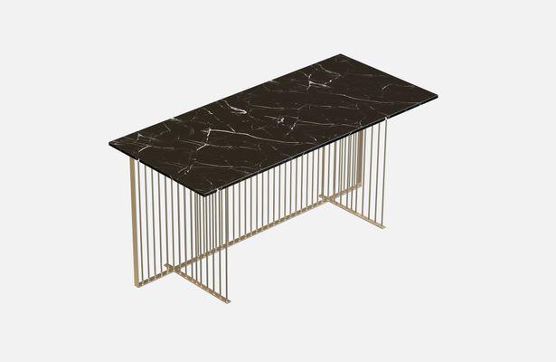 Bureau meister en plaqué laiton avec plateau en marbre noir par alex
