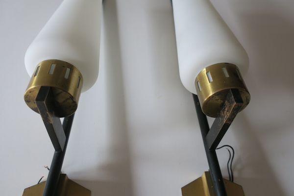 Applique in metallo nero ottone e vetro lattimo anni set di