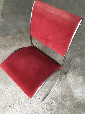 Super Vintage Red Velour Chrome Dining Chairs From Maison Jansen Set Of 4 Camellatalisay Diy Chair Ideas Camellatalisaycom