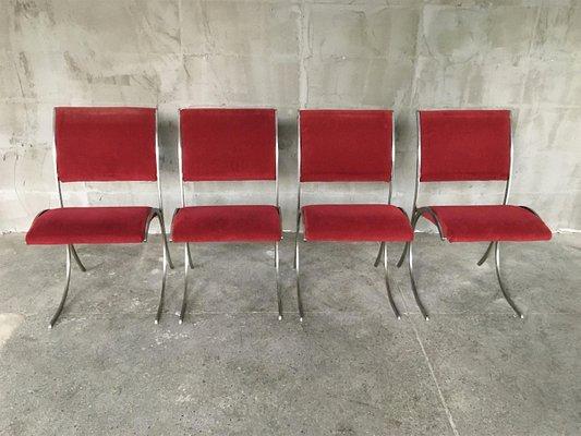 Chaises De Salle à Manger Vintage En Velours Rouge Et Chrome De Maison  Jansen, Set