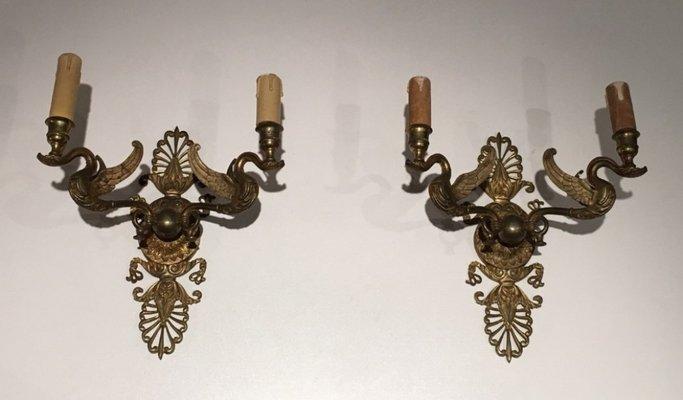 Applique in bronzo dorato con cigni francia anni set di