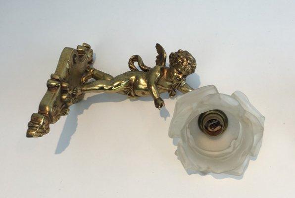 Applique antiche in bronzo e vetro rosa francia inizio xx secolo
