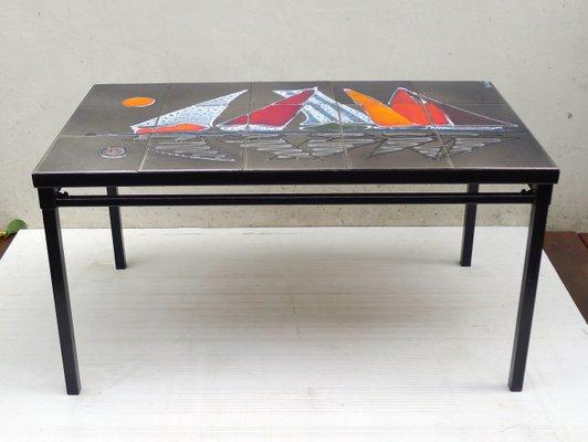 Table Basse En Ceramique Emaillee 1950s