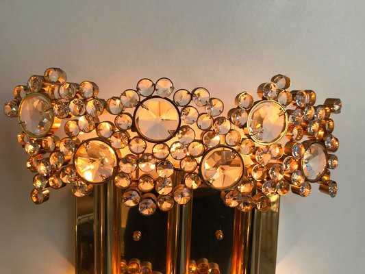Applique in ottone e cristallo di palwa germania anni set