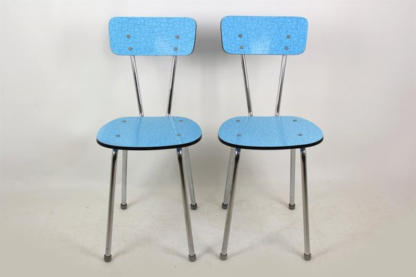 Sillas de cocina de formica azul, años 70. Juego de 2