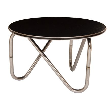 Black Ash And Chrome Coffee Table 1960s