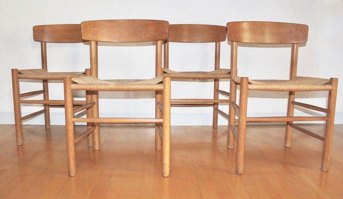 Sidste nye J39 Oak Chairs by Børge Mogensen for FDB Kvist Mobler, 1947, Set GV-02