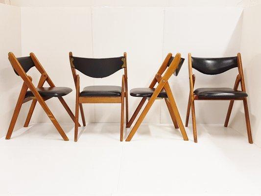 Scandinavian Teak And Leatherette Folding Chairs 1960s Set Of 4 1