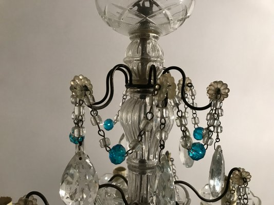 Antique Crystal Chandelier With Blue Beads