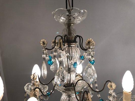 Kronleuchter Mit Glasperlen ~ Antiker kronleuchter aus kristallglas mit blauen