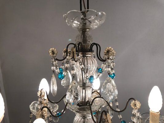 buy online 9308d 9893f Antique Crystal Chandelier with Blue Crystal Beads