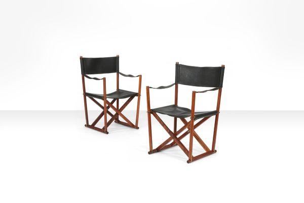Sedie Pieghevoli Di Design.Sedie Pieghevoli Modello Mk 16 Di Mogens Koch Anni 60 Set Di 2
