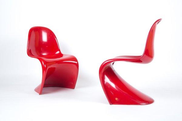 Roter Vintage Panton Stuhl Von Verner Panton Für Herman Miller Bei