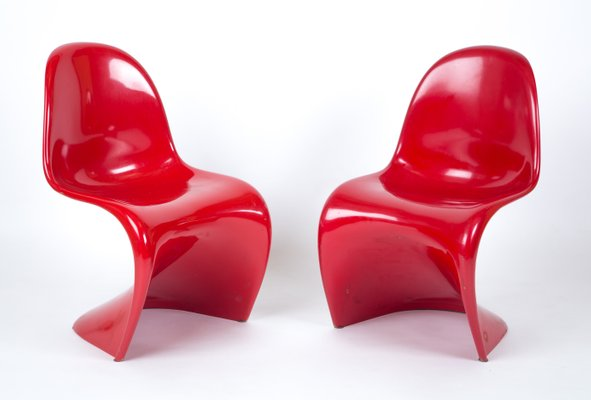 Sedia Design Verner Panton.Vintage Red Panton Chair By Verner Panton For Herman Miller For