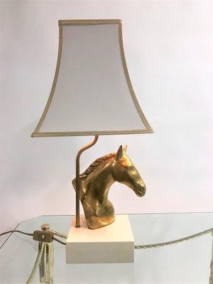 Laiton De Lampe Tête Massive1970s Bureau Cheval En Avec m0w8Nn