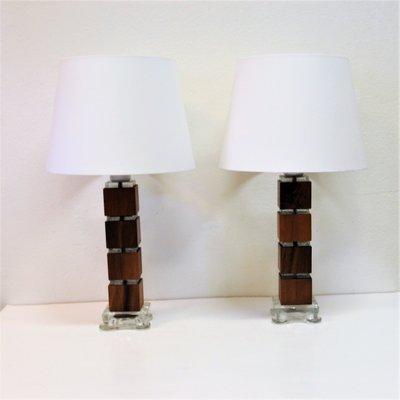 Lampade da tavolo vintage in legno e vetro, Svezia, anni \'60, set di ...