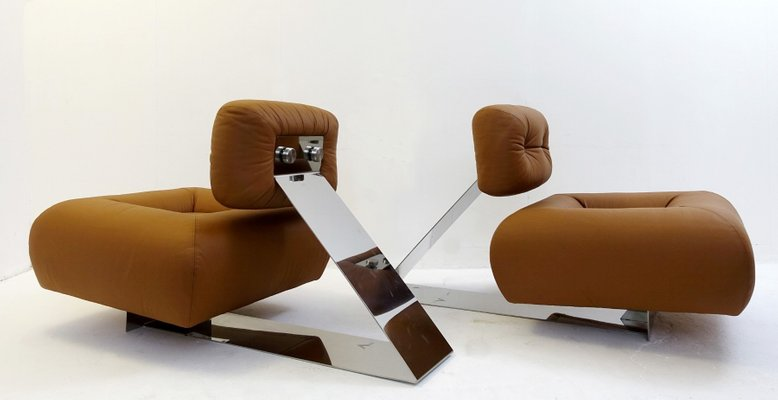 Leather And Stainless Steel Aran Lounge Chairs By Oscar Niemeyer 1970s Set Of 2