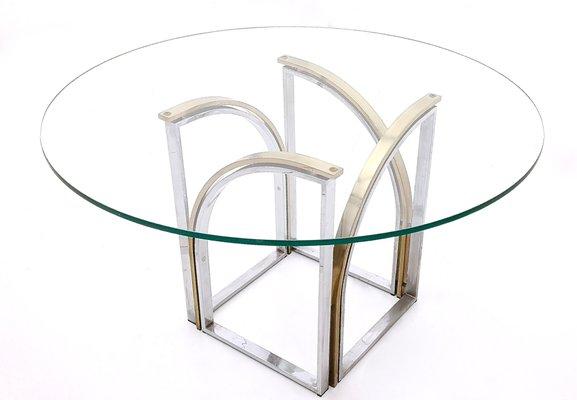 Tavolo Rotondo Vetro E Acciaio.Tavolo Da Pranzo Rotondo In Ottone Vetro E Acciaio Di Romeo Rega Anni 70
