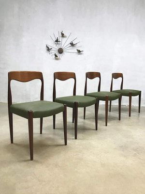 ca1b0ec66122 Vintage Danish Dining Chairs by N. O. Moller for J. L. Mollers, Set of 4 1