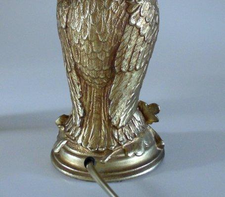 Owl Lamps In Golden Metal From Loevsky 1960s