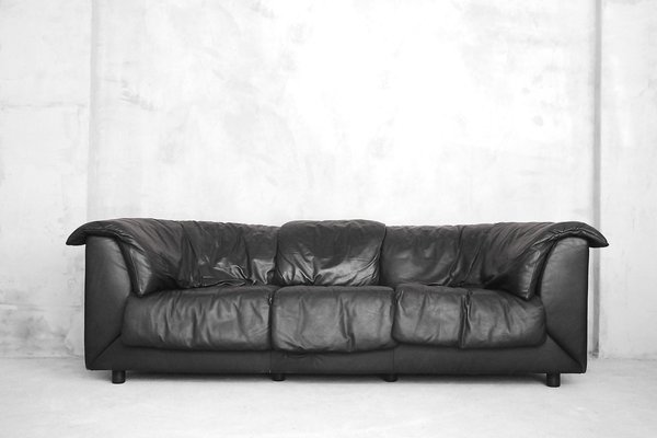 Schwarzes 3 Sitzer Sofa Aus Leder Von De Sede 1980er Bei Pamono Kaufen