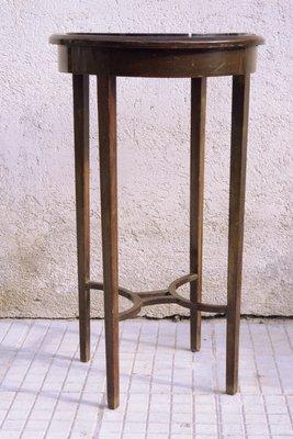 Art Marbre Basse Deco Ronde et Acajou Table en bfv6gy7Y