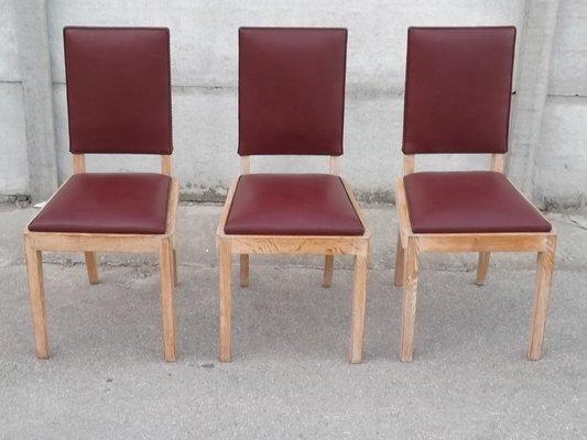 Sedie Da Ufficio In Pelle : Sedie da ufficio in quercia e pelle di charles dudouyt anni
