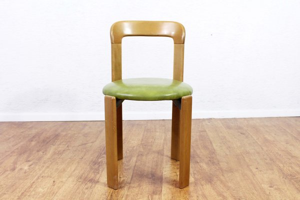 Vintage Dining Chairs With Green Leather Seats By Bruno Rey For