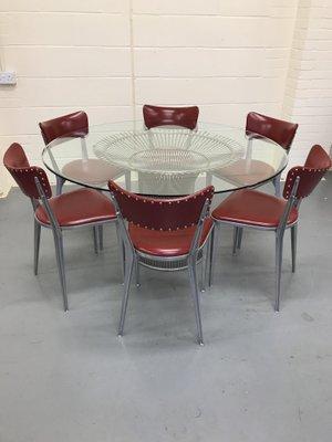 Tavolo da pranzo vintage di Warren Platner con sei sedie da pranzo ...