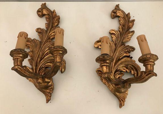 Applique vintage in legno dorato set di in vendita su pamono