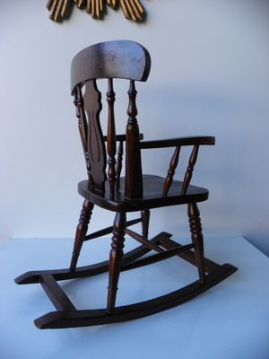 Marvelous Small Vintage Wooden Rocking Chair Customarchery Wood Chair Design Ideas Customarcherynet