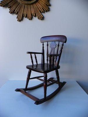 Small Vintage Wooden Rocking Chair For Sale At Pamono